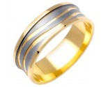 Two Tone Gold Waves Wedding Band 7mm TT-1176