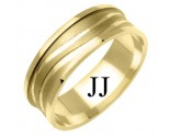 Yellow Gold Waves Wedding Band 7mm YG-1176