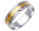 Two Tone Gold Designer Wedding Band 6mm TT-1177