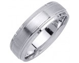 White Gold Designer Wedding Band 6.5mm WG-1185