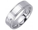 White Gold Designer Wedding Band 6.5mm WG-1186