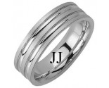 White Gold Designer Wedding Band 6.5mm WG-1187
