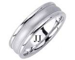 White Gold Designer Wedding Band 6.5mm WG-1189