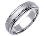 White Gold Designer Wedding Band 6.5mm WG-1190