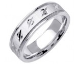 White Gold Designer Wedding Band 6.5mm WG-1194