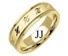 Yellow Gold Designer Wedding Band 6.5mm YG-1194