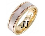 Two Tone Gold Sandblasted Wedding Band 7mm TT-1251