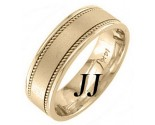 Yellow Gold Sandblasted Wedding Band 7mm YG-1251
