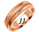 Rose Gold Diamond-Cut Wedding Band 6.5mm RG-1253