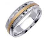 Two Tone Gold Diamond-Cut Wedding Band 6.5mm TT-1253