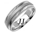 White Gold Diamond-Cut Wedding Band 6.5mm WG-1253