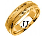 Yellow Gold Diamond-Cut Wedding Band 6.5mm YG-1253
