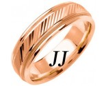 Rose Gold Diamond-Cut Wedding Band 6.5mm RG-1254