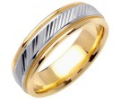 Two Tone Gold Diamond-Cut Wedding Band 6.5mm TT-1254