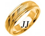 Yellow Gold Diamond-Cut Wedding Band 6.5mm YG-1254