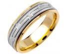 Two Tone Gold Greek Key Wedding Band 6.5mm TT-1256