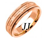 Rose Gold Greek Key Wedding Band 6.5mm RG-1256
