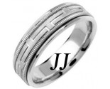White Gold Greek Key Wedding Band 6.5mm WG-1256