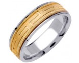 Two Tone Gold Greek Key Wedding Band 6.5mm TT-1256B