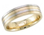 Two Tone Gold Quad Blade Wedding Band 5mm TT-1258