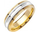 Two Tone Gold Milgrain Wedding Band 6.5mm TT-1262