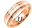 Rose Gold Milgrain Wedding Band 6.5mm RG-1262