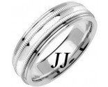 White Gold Milgrain Wedding Band 6.5mm WG-1262