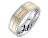 Two Tone Gold Dual Blade Wedding Band 7.5mm TT-1264