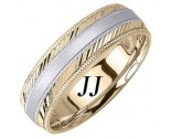 Two Tone Gold Diamond-Cut Wedding Band 6.5mm TT-1265