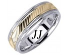 Two Tone Gold Diamond-Cut Wedding Band 6.5mm TT-1266