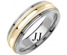Two Tone Gold Milgrain Wedding Band 6.5mm TT-1269