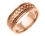 Rose Gold Hand Braided Wedding Band 8mm RG-161