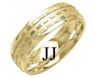 Yellow Gold Designer Wedding Band 7mm YG-1289