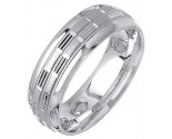 White Gold Designer Wedding Band 7mm WG-1297