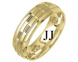 Yellow Gold Designer Wedding Band 7mm YG-1297