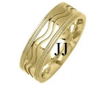 Yellow Gold Designer Wedding Band 7mm YG-1299