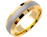 Two Tone Gold Milgrain Wedding Band 6.5mm TT-1351