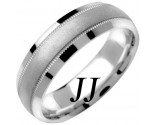 White Gold Milgrain Wedding Band 6.5mm WG-1351