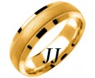 Yellow Gold Milgrain Wedding Band 6.5mm YG-1351