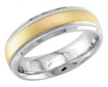 Two Tone Gold Sandblasted Wedding Band 6.5mm TT-1352