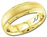 Yellow Gold Sandblasted Wedding Band 6.5mm YG-1352