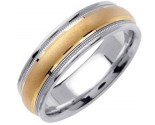 Two Tone Gold Sandblasted Wedding Band 6.5mm TT-1353A