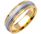 Two Tone Gold Sandblasted Wedding Band 6.5mm TT-1353B