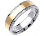 2-Tone Gold Mirror Effect Wedding Band 6.5mm TT-1355