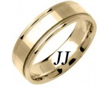 Yellow Gold Mirror Effect Wedding Band 6.5mm YG-1355