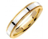 2-Tone Gold Flat Polished Wedding Band 4.5mm TT-1359