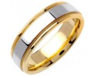 Two Tone Gold Flat Polished Wedding Band 6.5mm TT-1360
