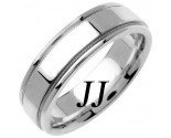 White Gold Flat Polished Wedding Band 6.5mm WG-1360
