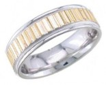 2-Tone Gold Ribbon Effect Wedding Band 6.5mm TT-1361