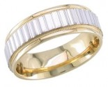 2-Tone Gold Ribbon Efect Wedding Band 6.5mm TT-1362